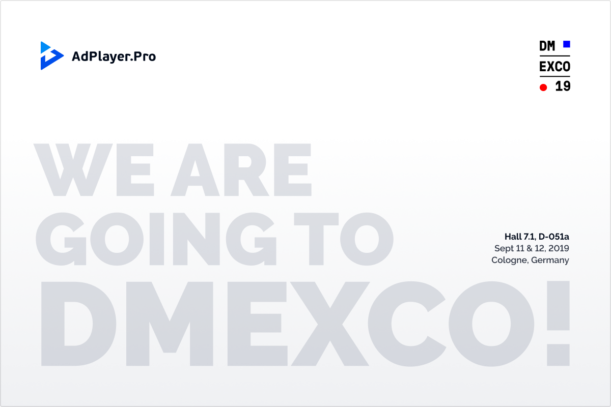 Connect with AdPlayer.Pro at DMEXCO 2019!
